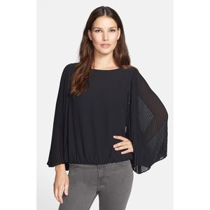 Chaus Pleated Butterfly Sleeve Boat Neck Blouse